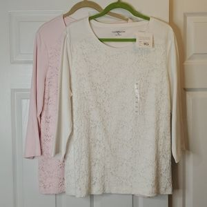Croft & Barrow Lace Front Tops (2)